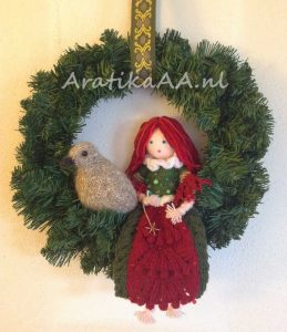 Christmas Fairy and Carrier Pigeon in Christmas Wreath Wall Hanging